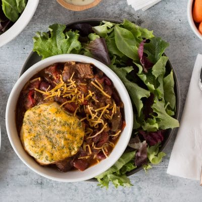 Slow Cooked BBQ Chili with Cheesy Biscuits – C