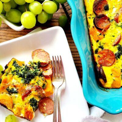 Sweet Potato and Sausage Cheesy Egg Bake – C
