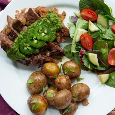 Tex Mex Roast and Potatoes with Chimichurri – CE
