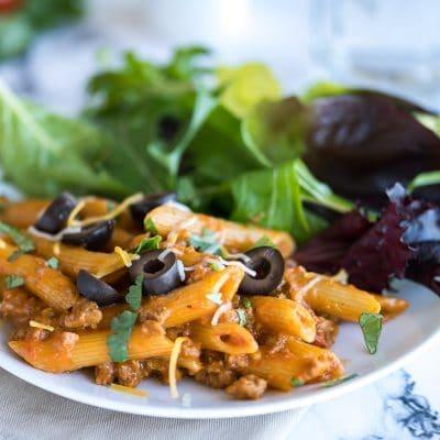 Skillet Cheesy Taco Pasta – C