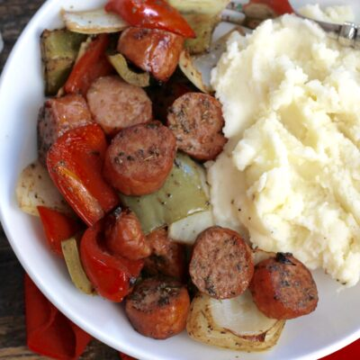 One Pan Roasted Sausage Peppers and Onions