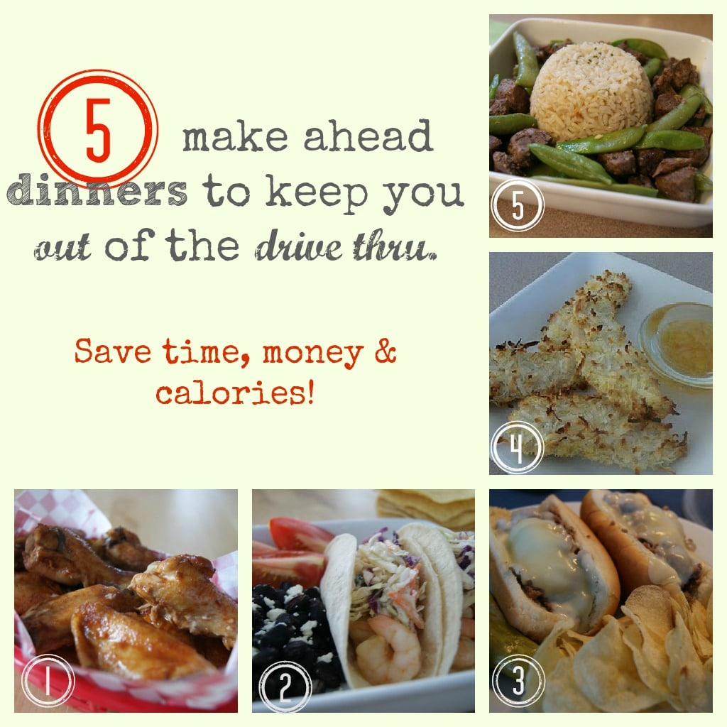 5 dinners banner with 5 different pictures of recipes.