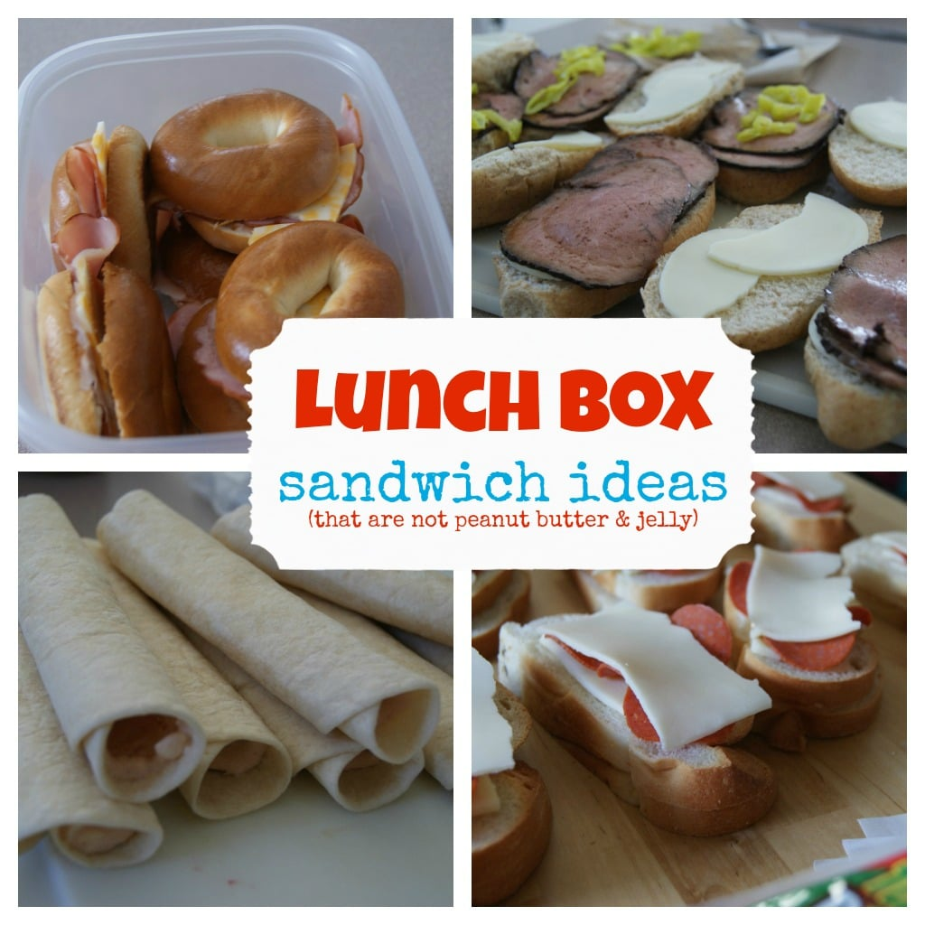 Collage of lunches in containers, different sandwich combinations.