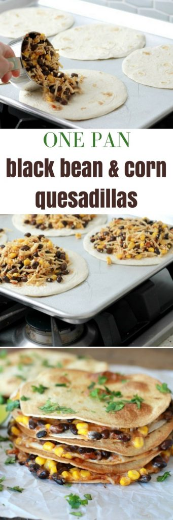 Three corn, black bean, salsa, and shredded cheese quesadillas stacked on top of one another served with a side of salsa and a lime, toed with seasoning.
