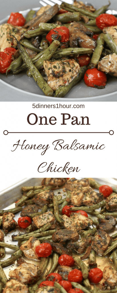 One pan dinner of balsamic chicken, green bean, petite tomatoes ready to be served.