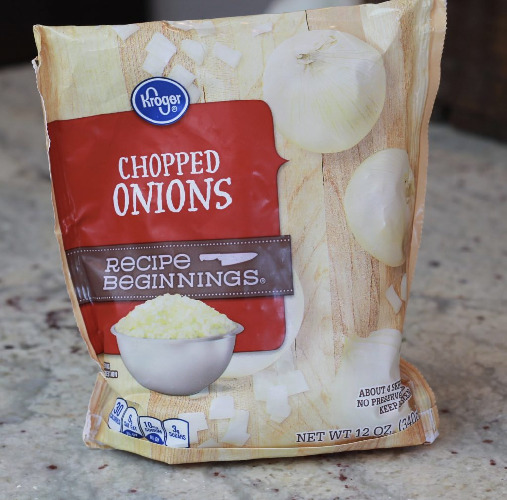 Frozen bag of chopped onions.