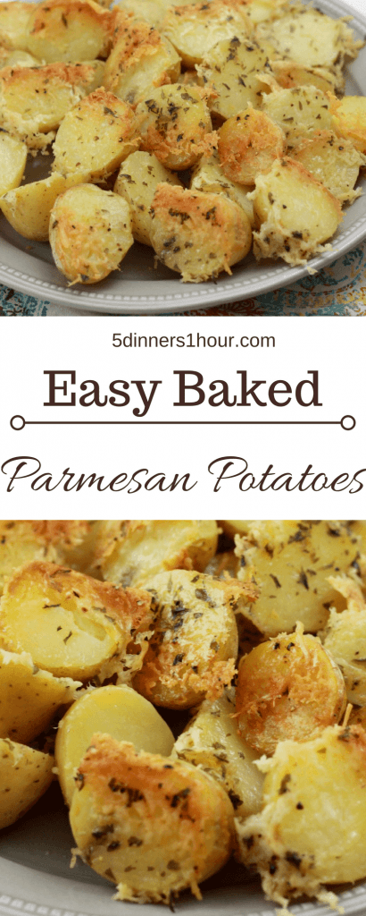 Baked sliced petite yellow potatoes, topped with shredded parmesan cheese served on a plate.
