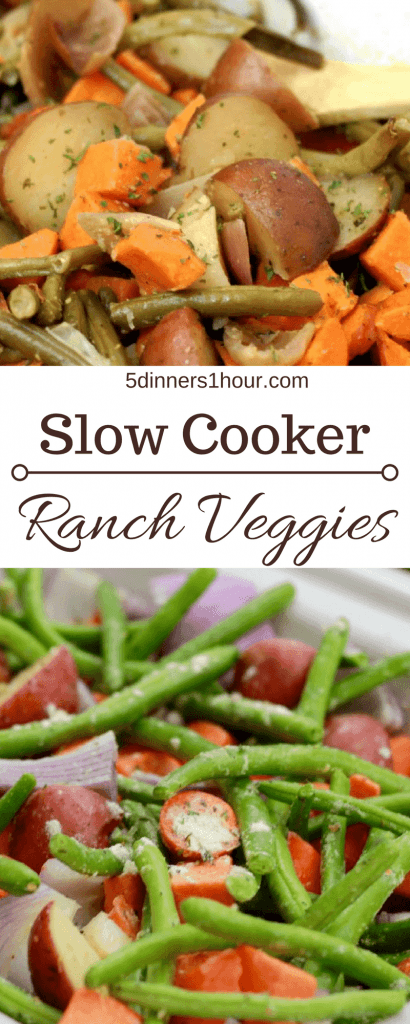 Slow cooked potatoes, green beans, carrots, topped with ranch seasoning in a slow cooker.