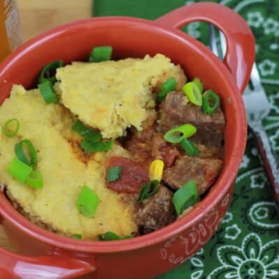 One Pot BBQ Beef with Cornbread Top