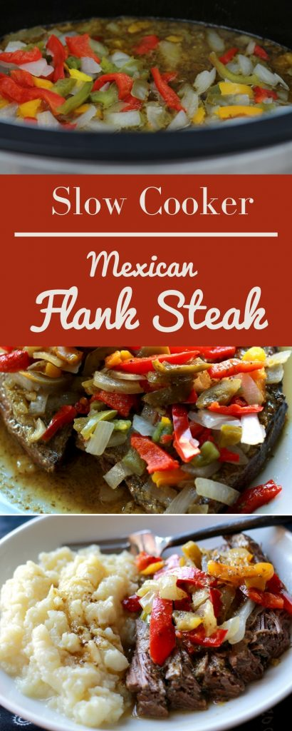 Cooked flank steak topped with onions, bell peppers, and vegetables, served on a white plate.