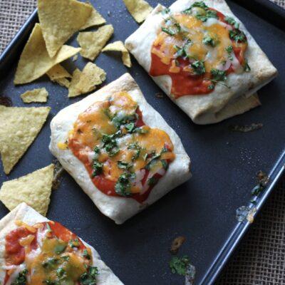 Sheet Pan Bean and Chicken Burritos