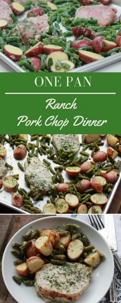 uncooked pork chops with sliced red potatoes, and green beans seasoned with ranch on one pan. cooked pork chops with sliced red potatoes and cooked green beans in a white bowl.