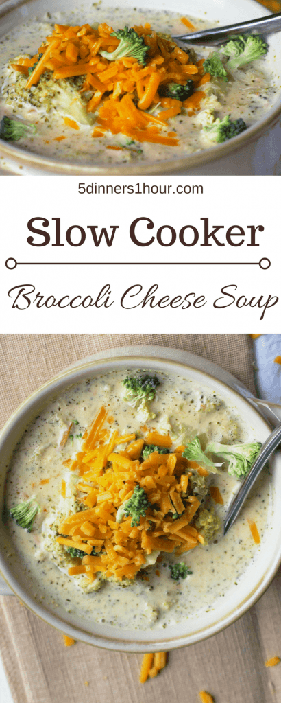 two pictures of slow cooked broccoli cheese soup topped with extra broccoli and shredded sharp cheddar cheese in a beige bowl on top of a table cloth with a side dish of cheese.