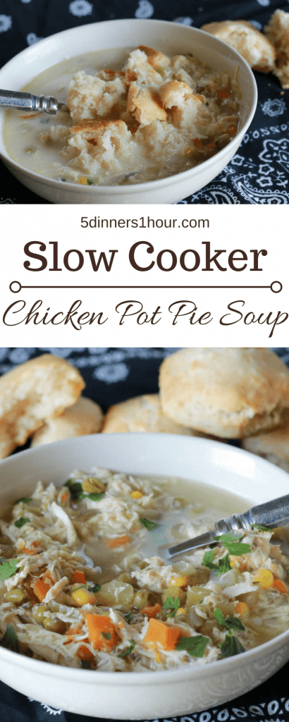 slow cooked chicken with chopped carrots, corn and broth mixed with greek yogurt to create a creamy chicken pot pie soup, with a side of biscuits.