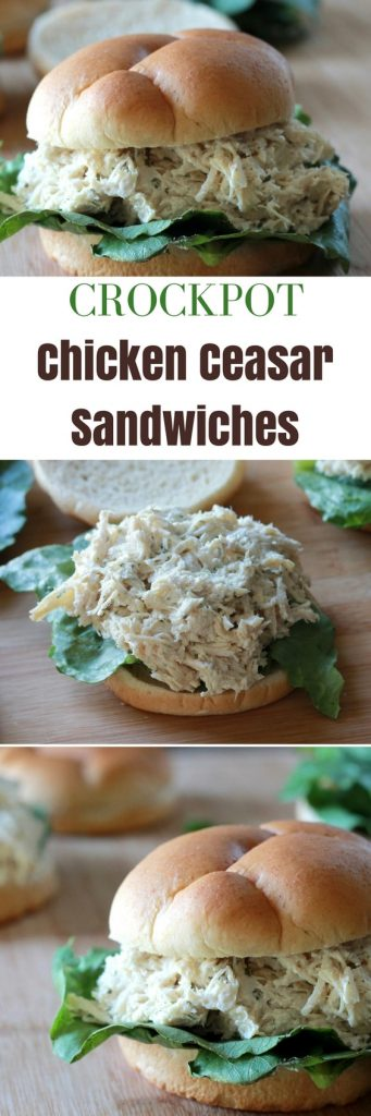 Crockpot Chicken Caesar Sandwiches | Slow Cooker | Sandwiches | 5dinners1hour.com