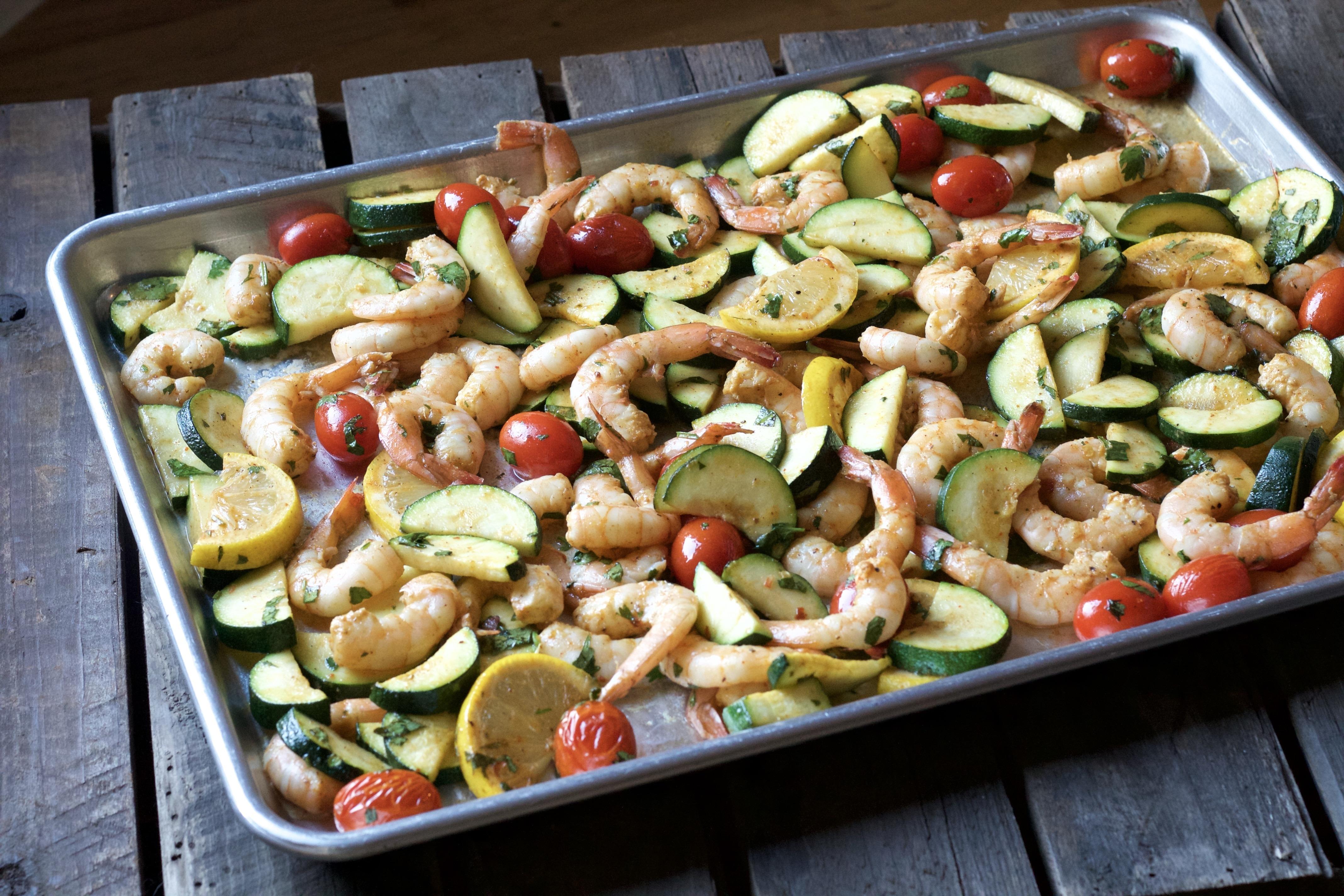 Easy One Pan Roasted Shrimp Dinner - 5 Dinners In 1 Hour