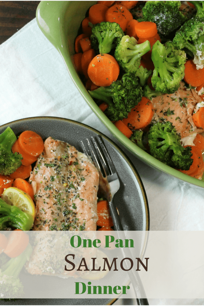 Light and healthy salmon dinner 5 dinners in 1 hour cooked and seasoned salmon with broccoli and sliced carrots served out of a green one dish forumfinder Choice Image