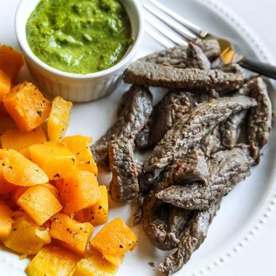 Steak Strips with Chimichurri Sauce – GF
