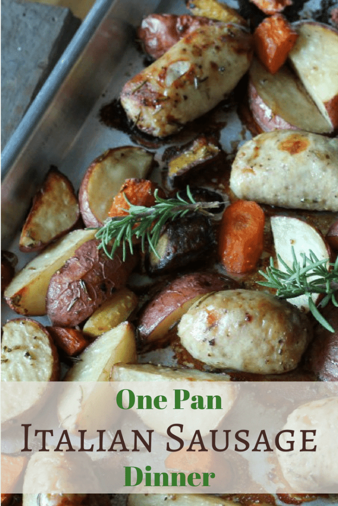 Italian Sausage Dinner with quartered potatoes and sliced carrots, seasoned with basil and baked on One Pan