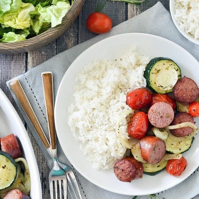 Broiled Sausage, Zucchini and Onions – CE-sample recipe