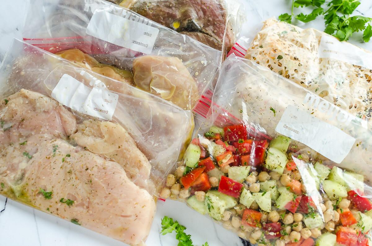 Meat prepped in bags