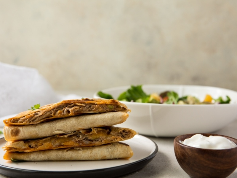 buffalo pulled pork quesadillas
