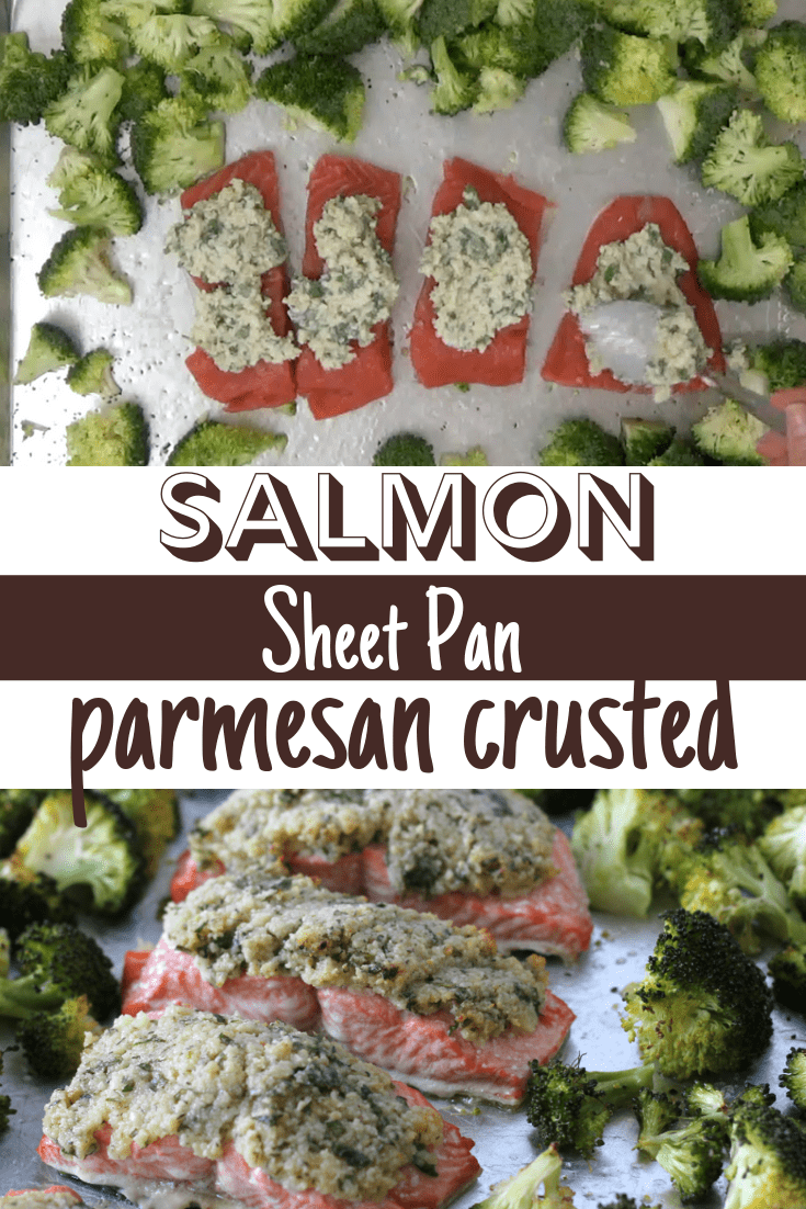 salmon and broccoli on a sheet pan with parmesan crust olive oil salt and pepper