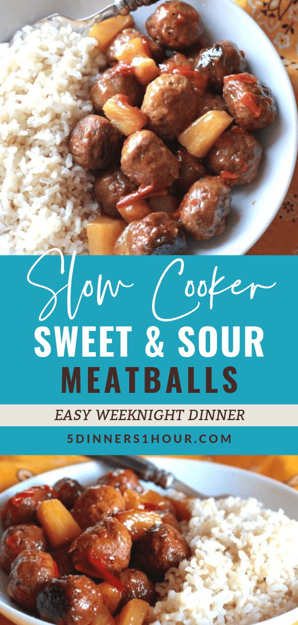 Slow Cooked CrockPot Sweet and Sour Meatballs #beef #meatballs #crockpotdinner #dinner #sweetandsour #pineapple #rice