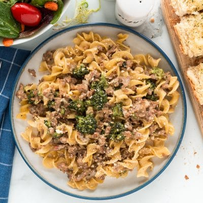 creamy sausage and broccoli pasta