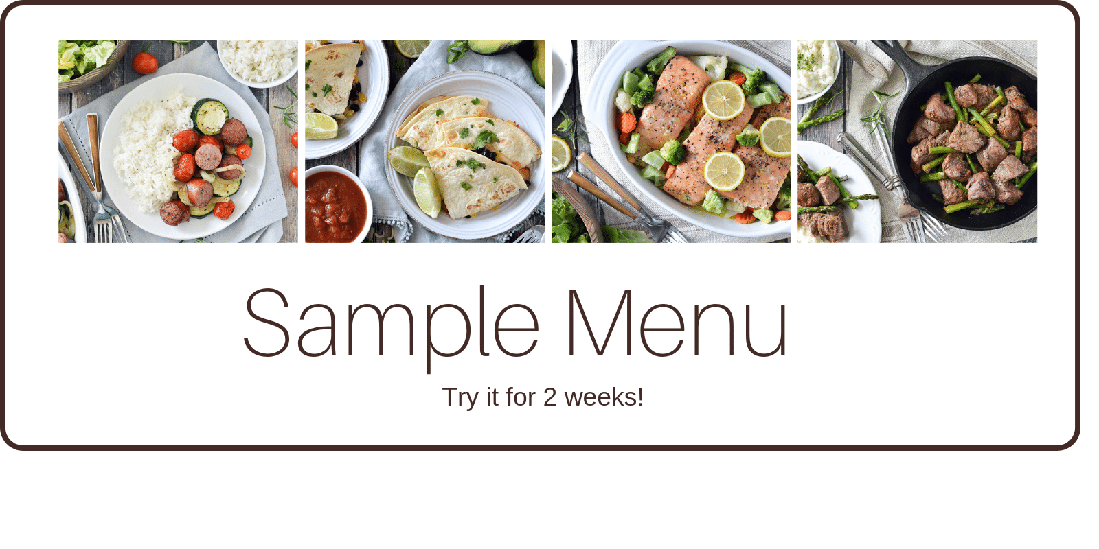 purchase five dinners in one hour sample menu here