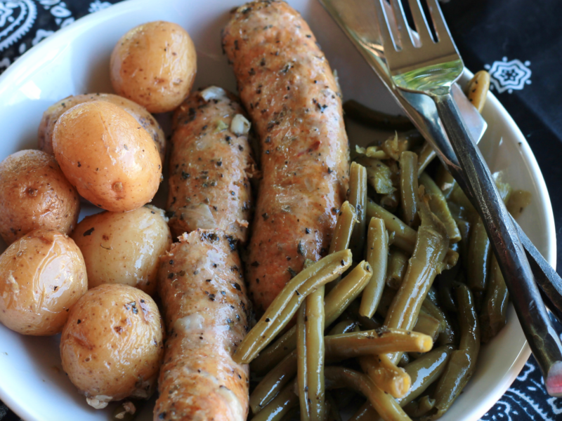 Easy one pot Crockpot Italian Sausage