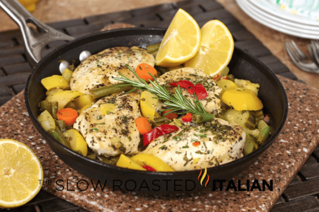 Rosemary Lemon Chicken and Veggies in a Skillet