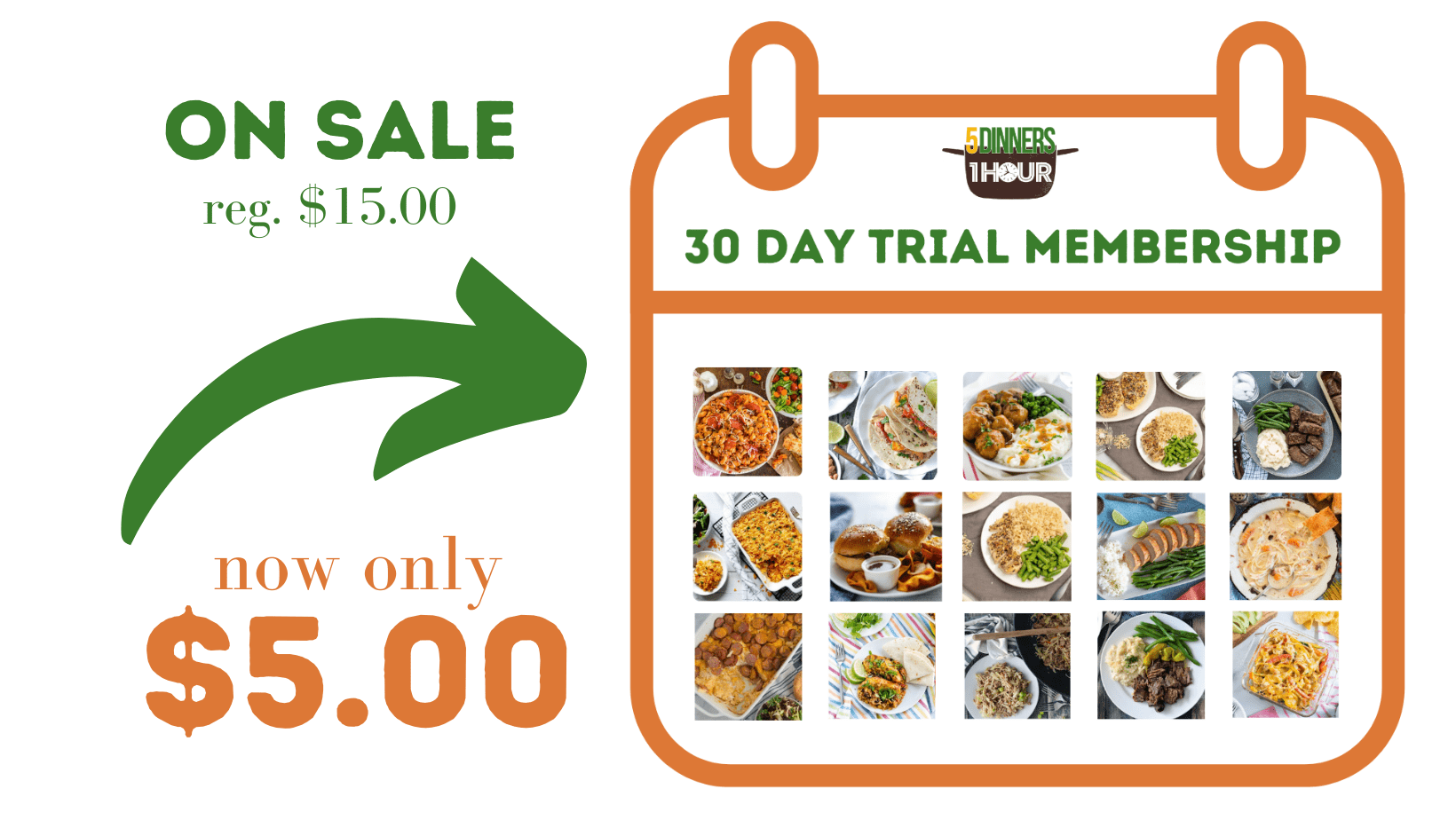 purchase five dinners in one hour thrity day trial here